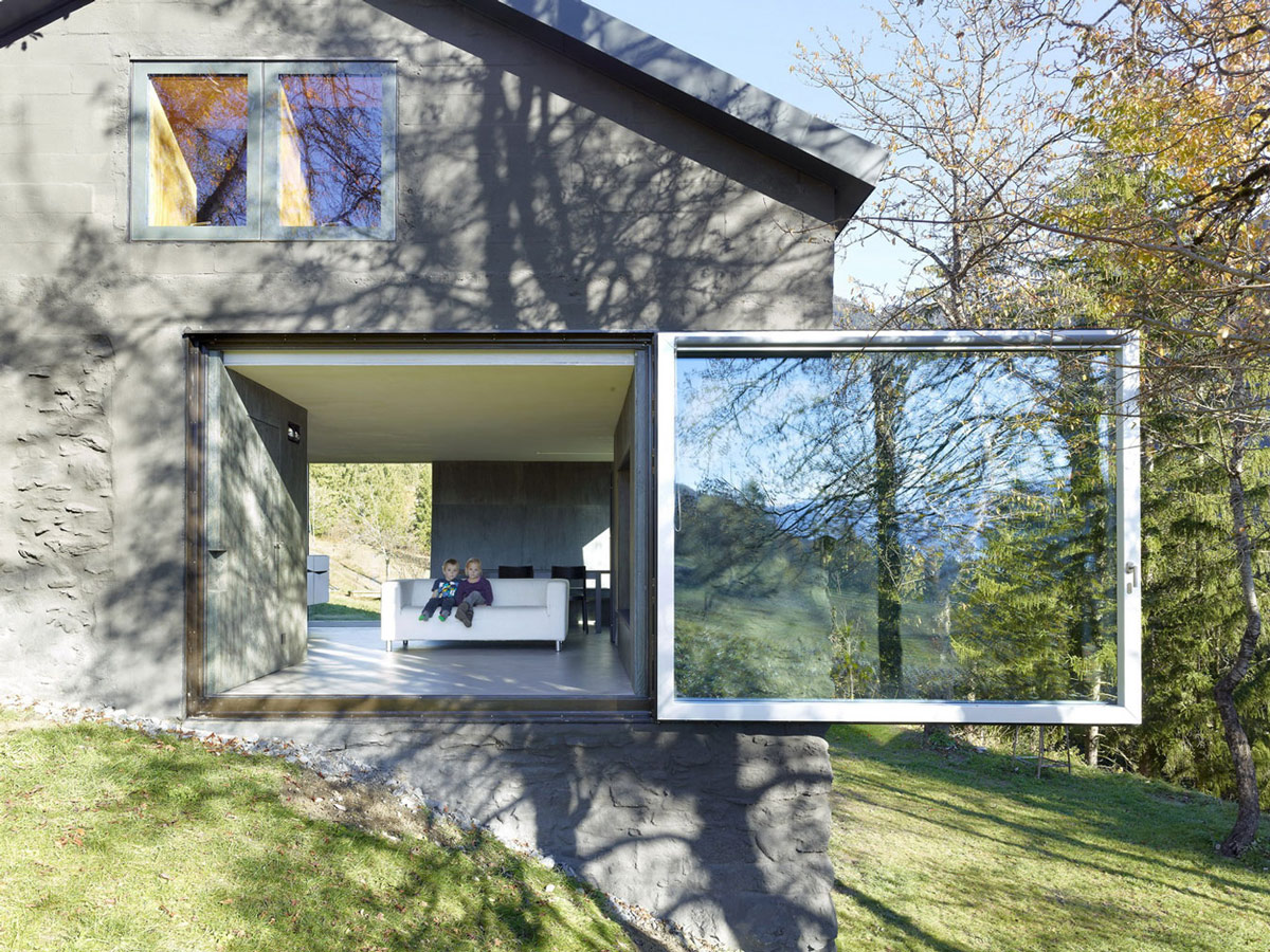 Sliding Glass Door, Holiday Home Renovation in Ayent, Switzerland