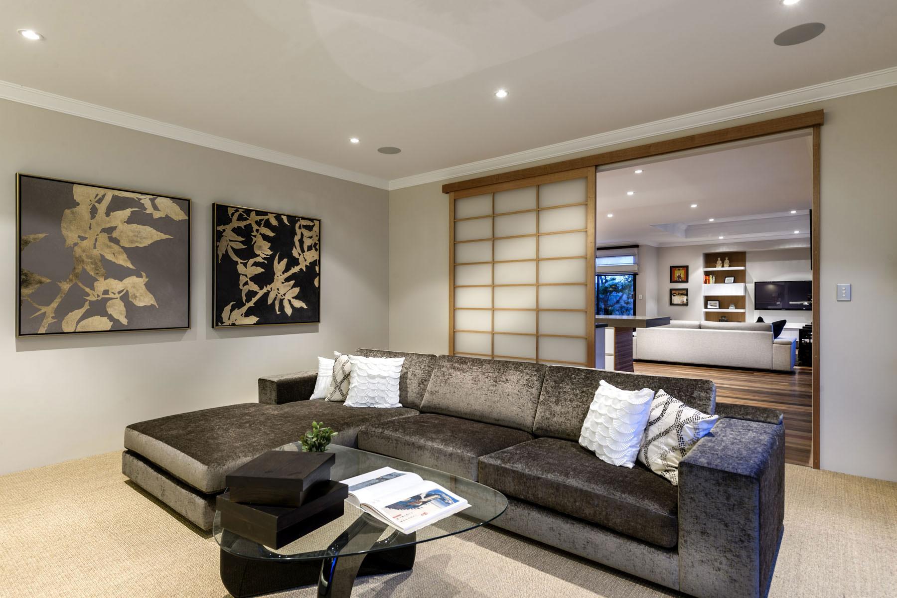 Sofa, Glass Coffee Table, Art, House in Burns Beach, Perth