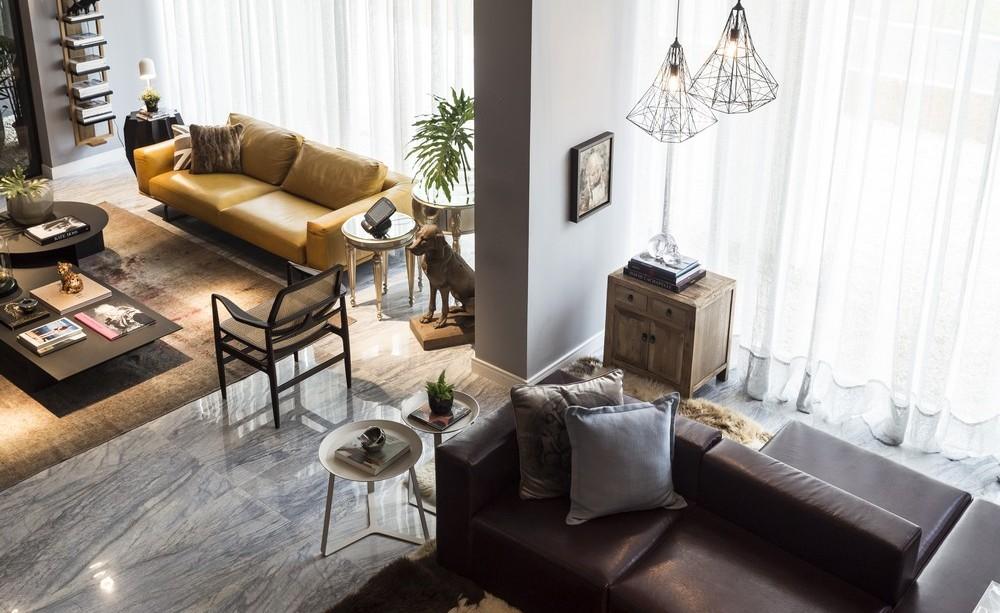 Sofa, Lighting, Marble Tiles, Open Plan Living, Apartment in Praia Brava