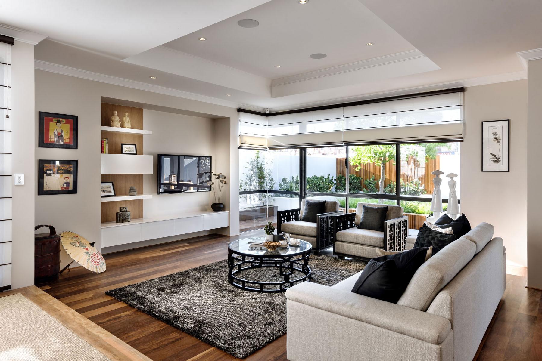 Sofas, Coffee Table, Rug, Wood Floor, House in Burns Beach, Perth