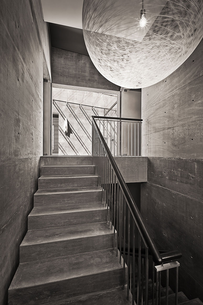 Stairs, Lighting, Concrete House in Montecito, California