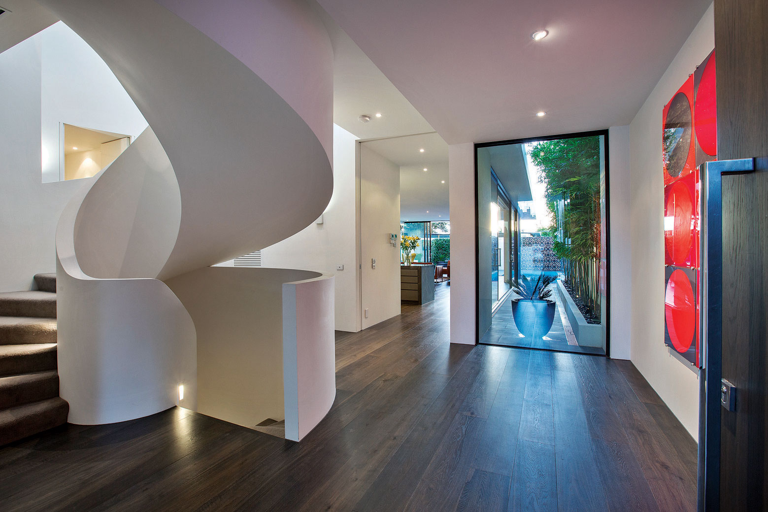 Stylish Staircase, Wood Floors, Townhouses in Brighton, Australia