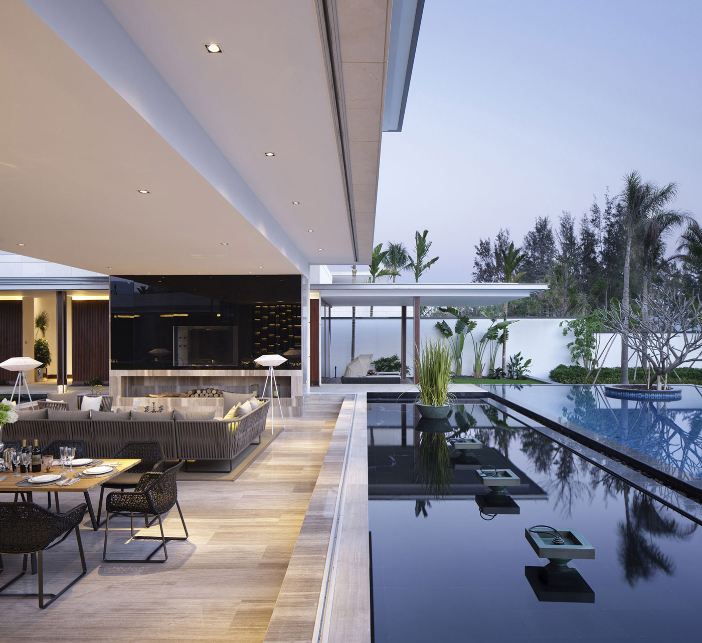 Water Feature, Pool, Living Space, Beachside Villas in Lingshui, Hainan, China