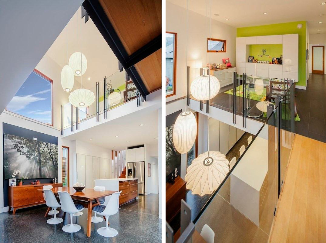 Wood Dining Table, Pendant Lighting, Modern House in Nanaimo, BC, Canada