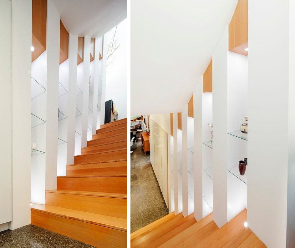 Wooden Stairs, Modern House in Nanaimo, BC, Canada
