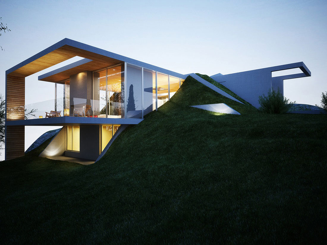 Balcony, Glass Balustrading, Floor-to-Ceiling Windows, Earth House Project