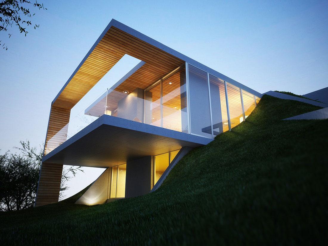 Balcony, Patio Doors, Earth House Project