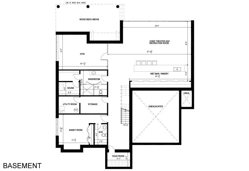 Basement floor plan contemporary house in toronto canada for Canadian house plans with basements