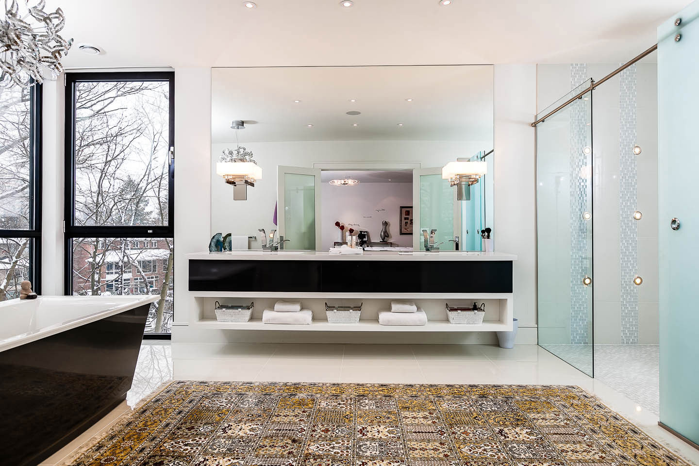 Bathroom, Large Mirror, Double Sinks, Contemporary House in Toronto, Canada
