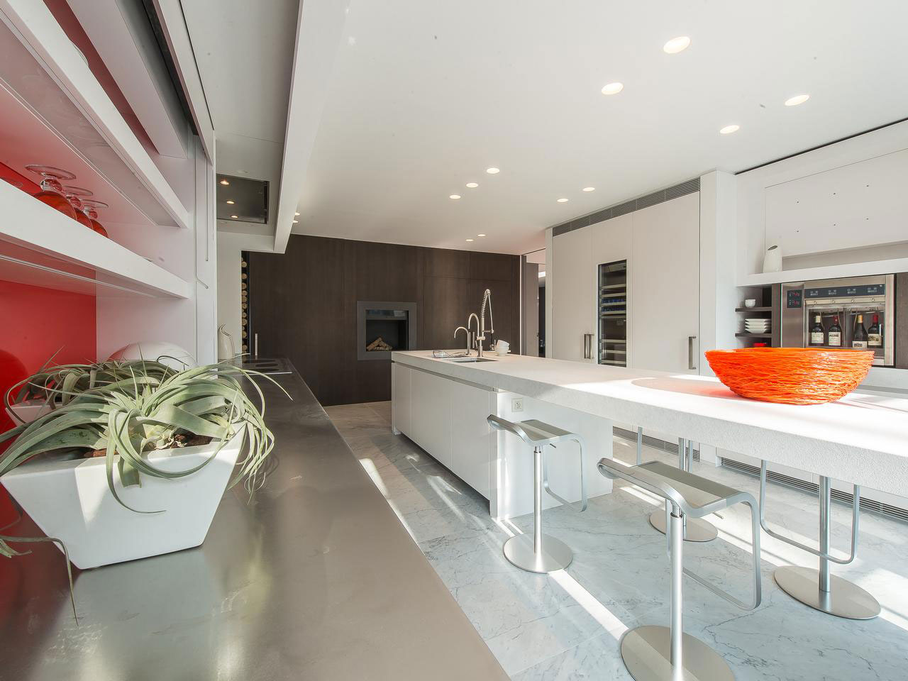 Breakfast Bar, Kitchen Island, Fireplace, House Renovation in Sint-Genesius-Rode, Belgium