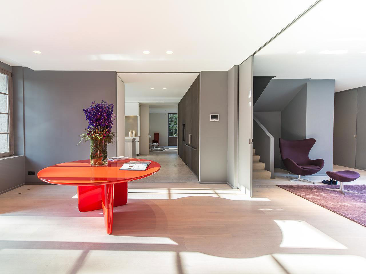 Bright Orange Table, House Renovation in Sint-Genesius-Rode, Belgium