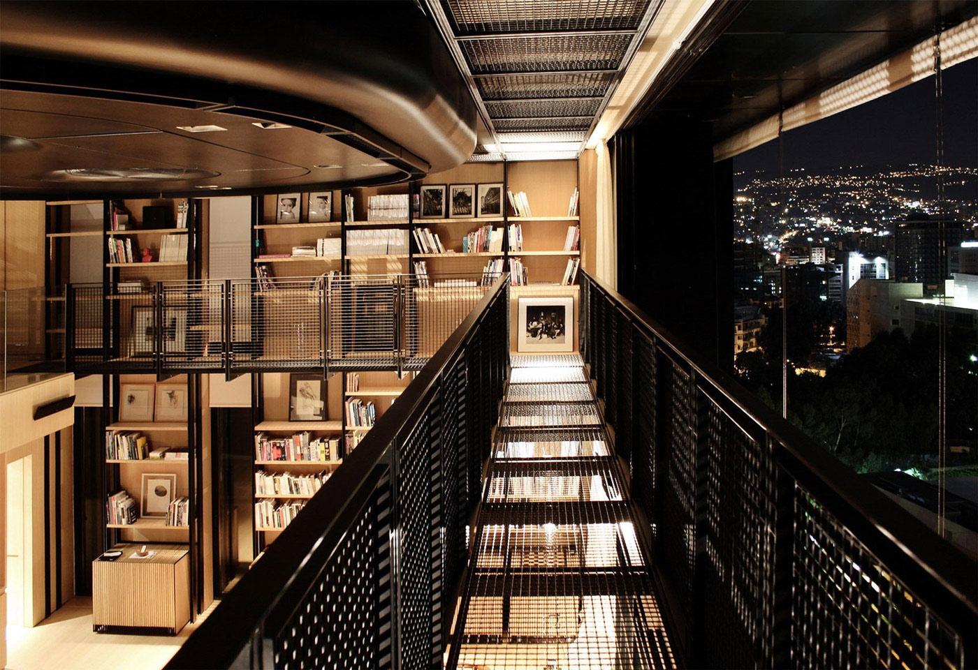 City Views, Book Shelves, Penthouse Apartment in Beirut, Lebanon