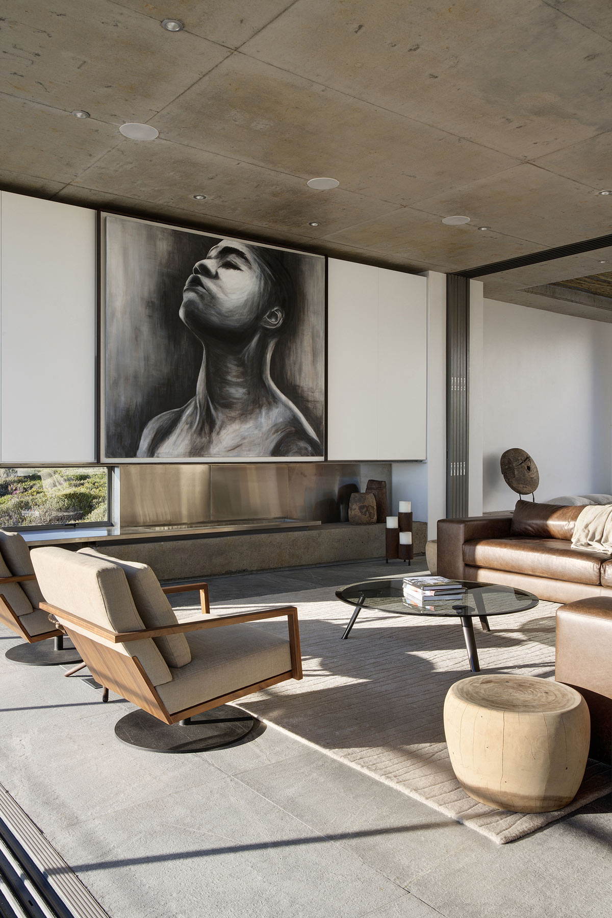 Concrete Ceiling, Art, Fireplace, Chairs, Holiday Home in Yzerfontein, South Africa