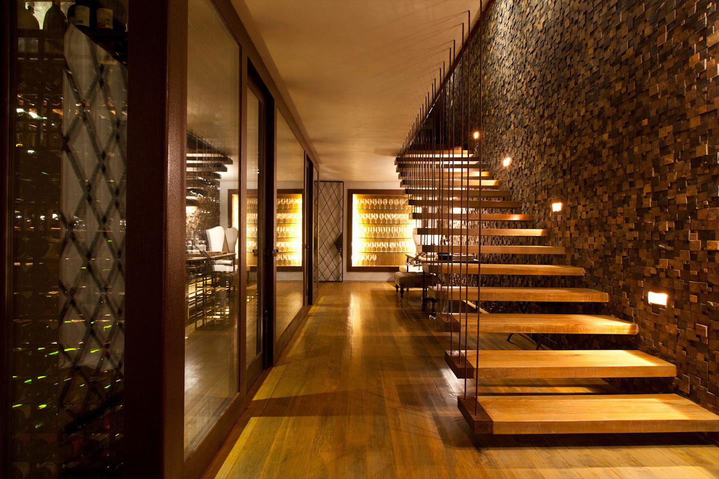 Contemporary Stairs, Textured Wall, Lighting, House in Nova Lima, Brazil
