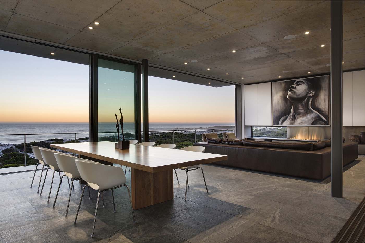 Dining Table, Fireplace, Art, Ocean Views, Holiday Home in Yzerfontein, South Africa