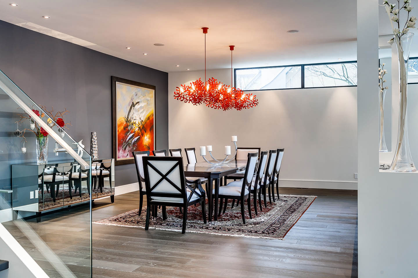 Dining Table, Lighting, Art, Contemporary House in Toronto, Canada