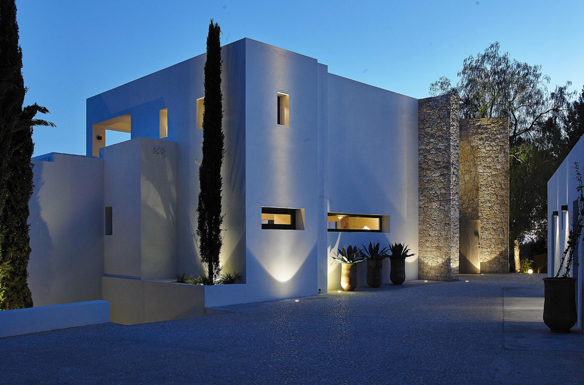 Driveway, Lighting, Modern House in Ibiza, Spain