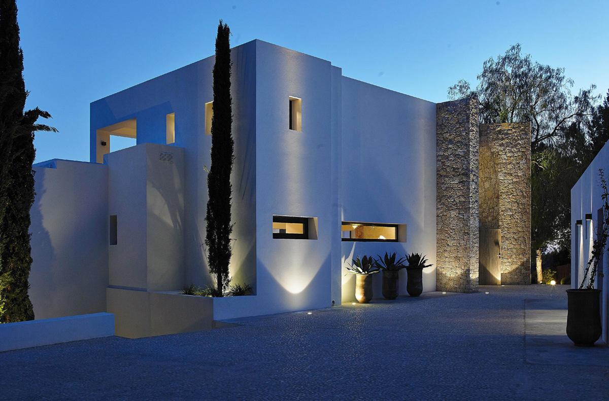 Driveway, Lighting, Modern House in Ibiza, Spain