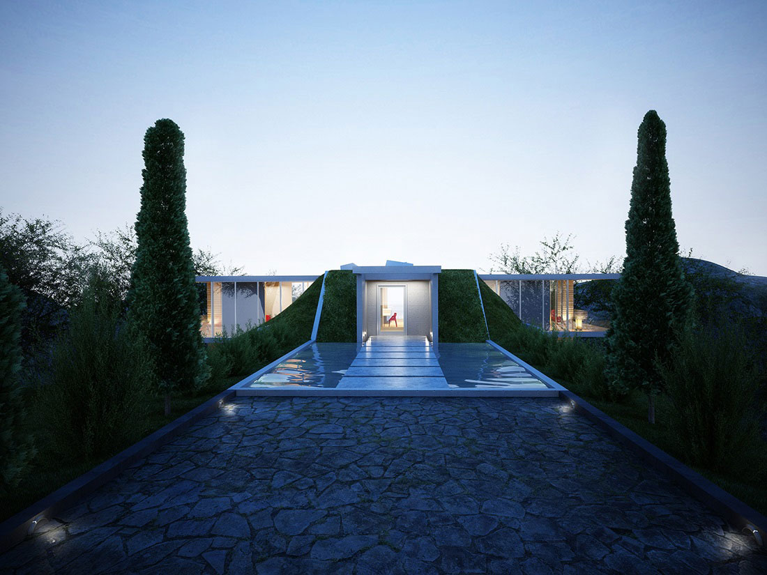 Entrance, Water Feature, Stepping Stones, Earth House Project