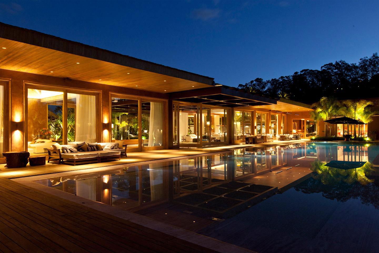 Evening, Lighting, Pool, House in Nova Lima, Brazil