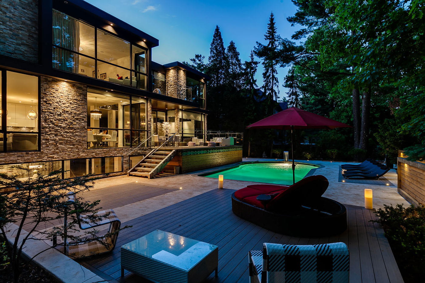 Evening, Lighting, Pool, Terrace, Contemporary House in Toronto, Canada
