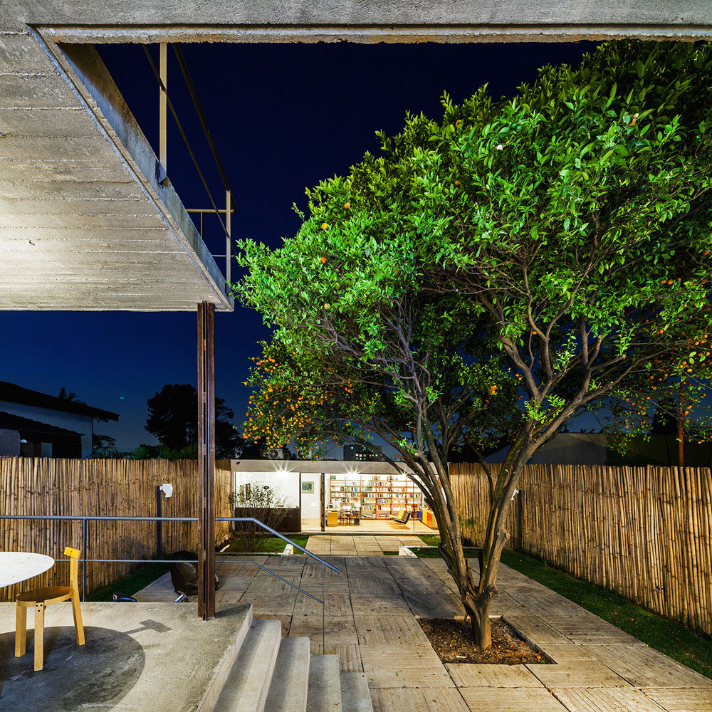 Evening, Terrace, Lighting, Urban House in São Paulo, Brazil