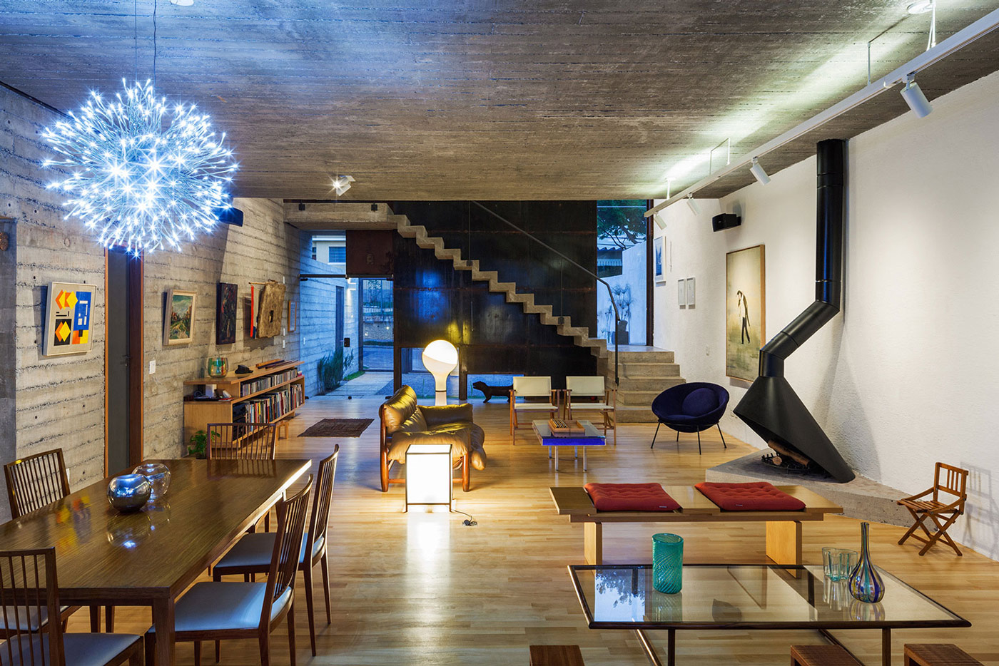 Fireplace, Stairs, Dining & Living Space, Trendy Urban House in São Paulo, Brazil