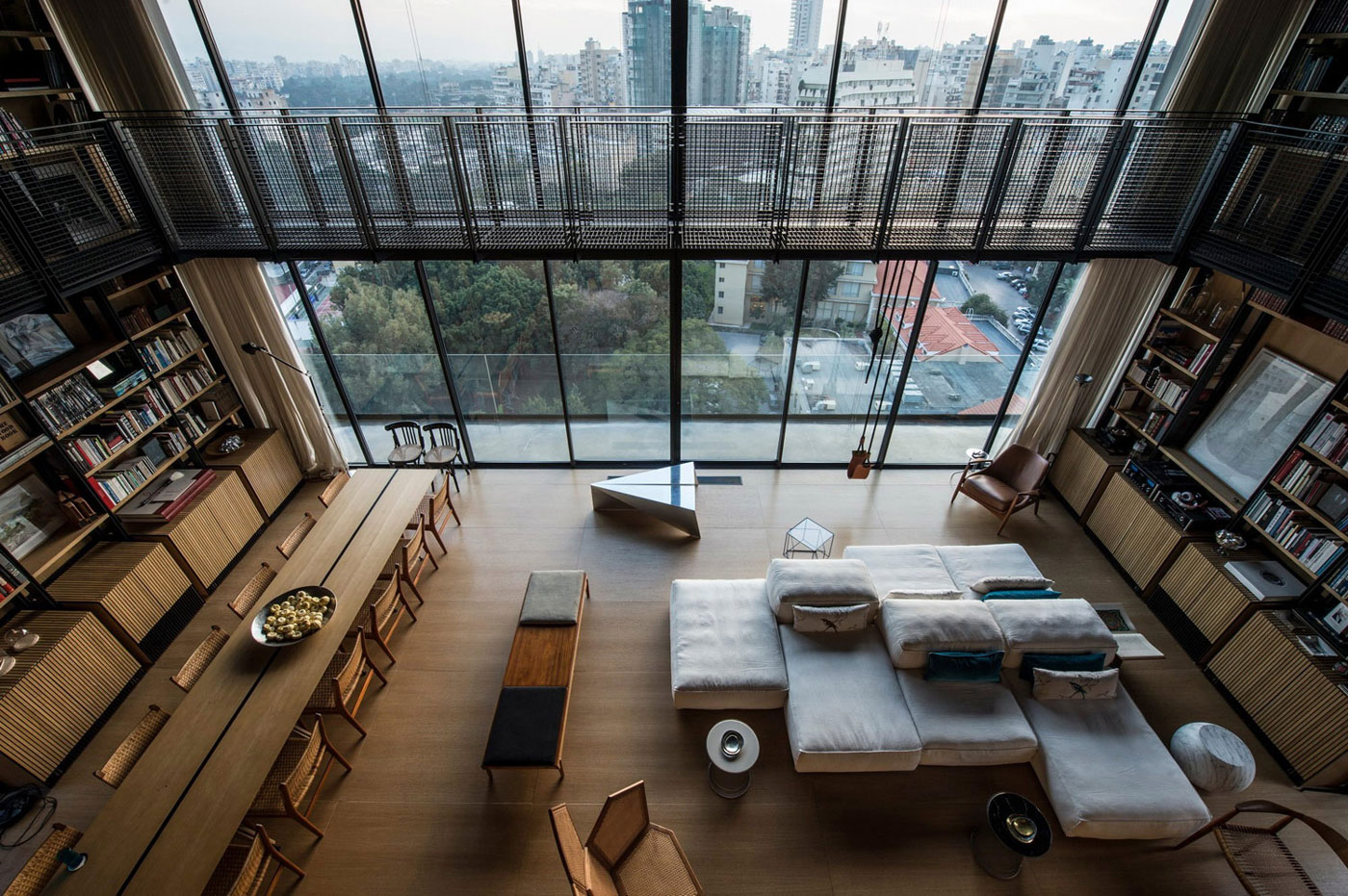 Floor-to-Ceiling Windows, Open Plan Living, Penthouse Apartment in Beirut, Lebanon
