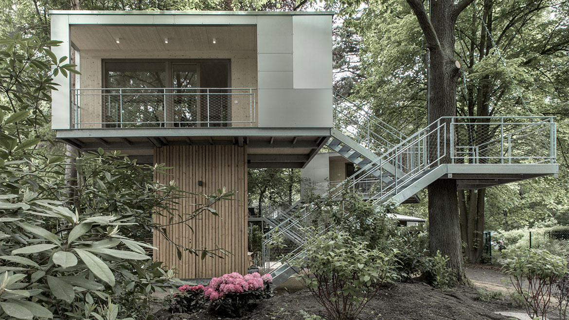 Front Façade, Balcony, Stairs, Urban Treehouse in Berlin, Germany