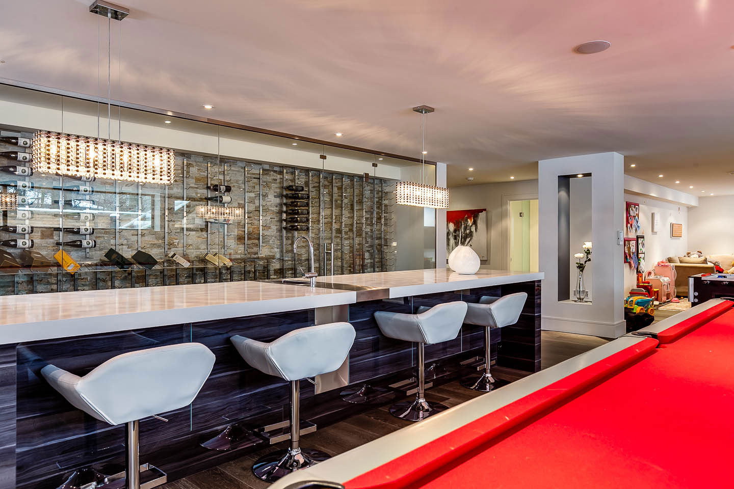 Games Room, Bar, Wine Store, Contemporary House in Toronto, Canada