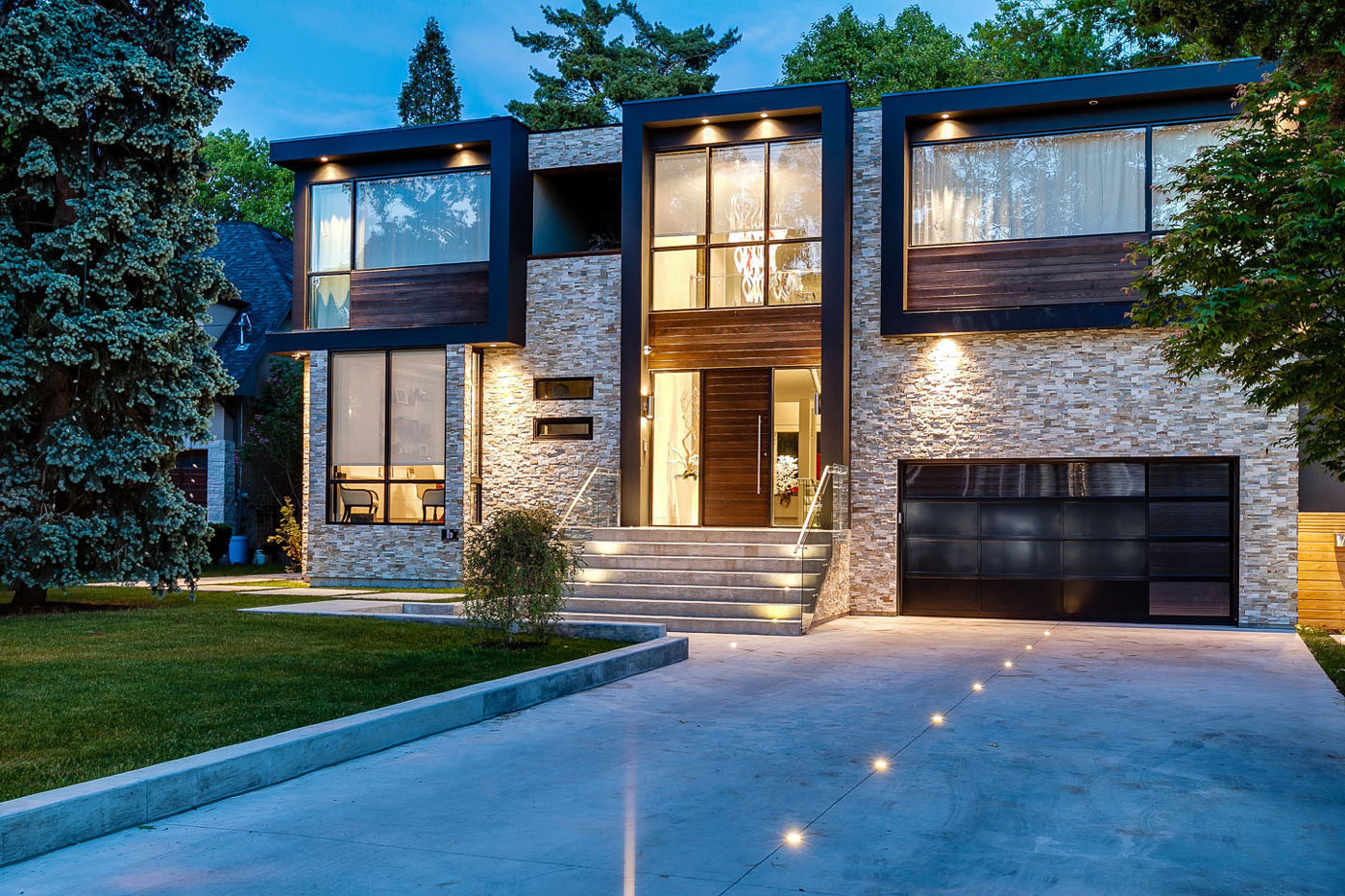 Garage, Entrance, Lighting, Contemporary House in Toronto, Canada