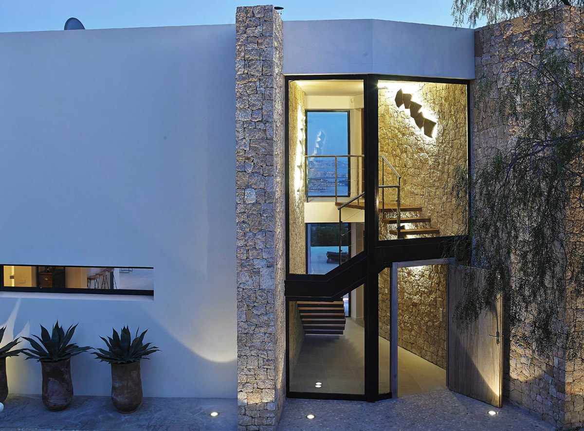 Glass Entrance, Wooden Front Door, Modern House in Ibiza, Spain