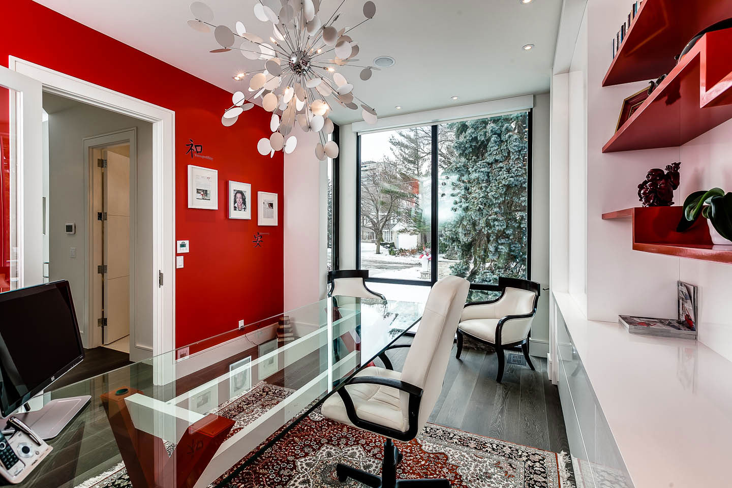 Home Office, Red & White Walls, Contemporary House in Toronto, Canada