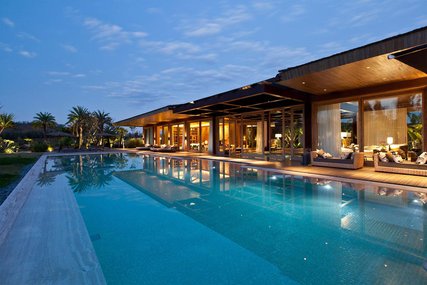 Large Pool, Lighting, House in Nova Lima, Brazil