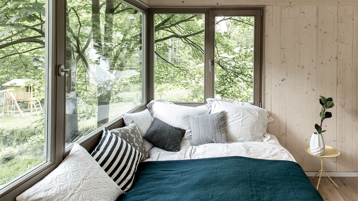 Large Windows, Bed, Urban Treehouse in Berlin, Germany