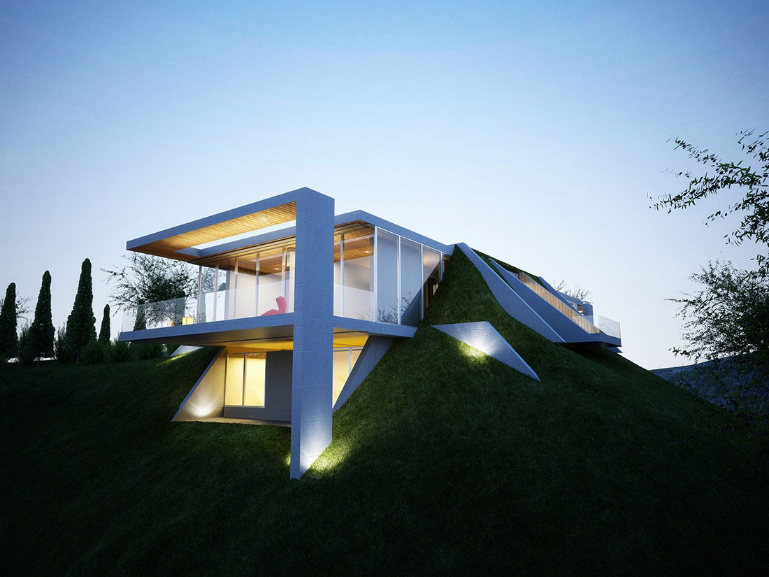 Lighting, Glass Sliding Doors, Earth House Project