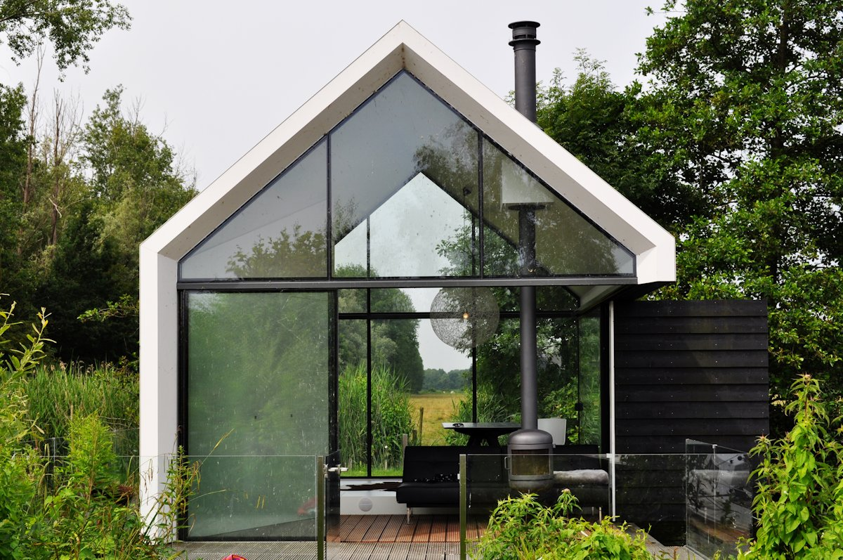 Modern Fireplace, Glass Walls, Holiday House in Loosdrechtse