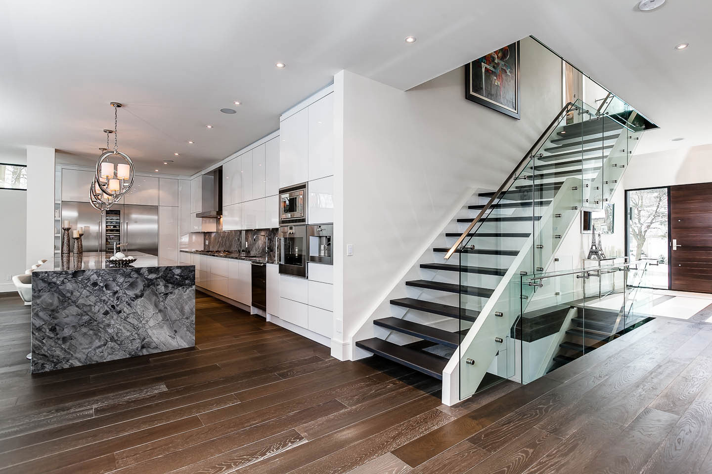 Modern Stairs, Glass, Wood and Metal Stairs, Kitchen, Entrance, Contemporary House in Toronto, Canada