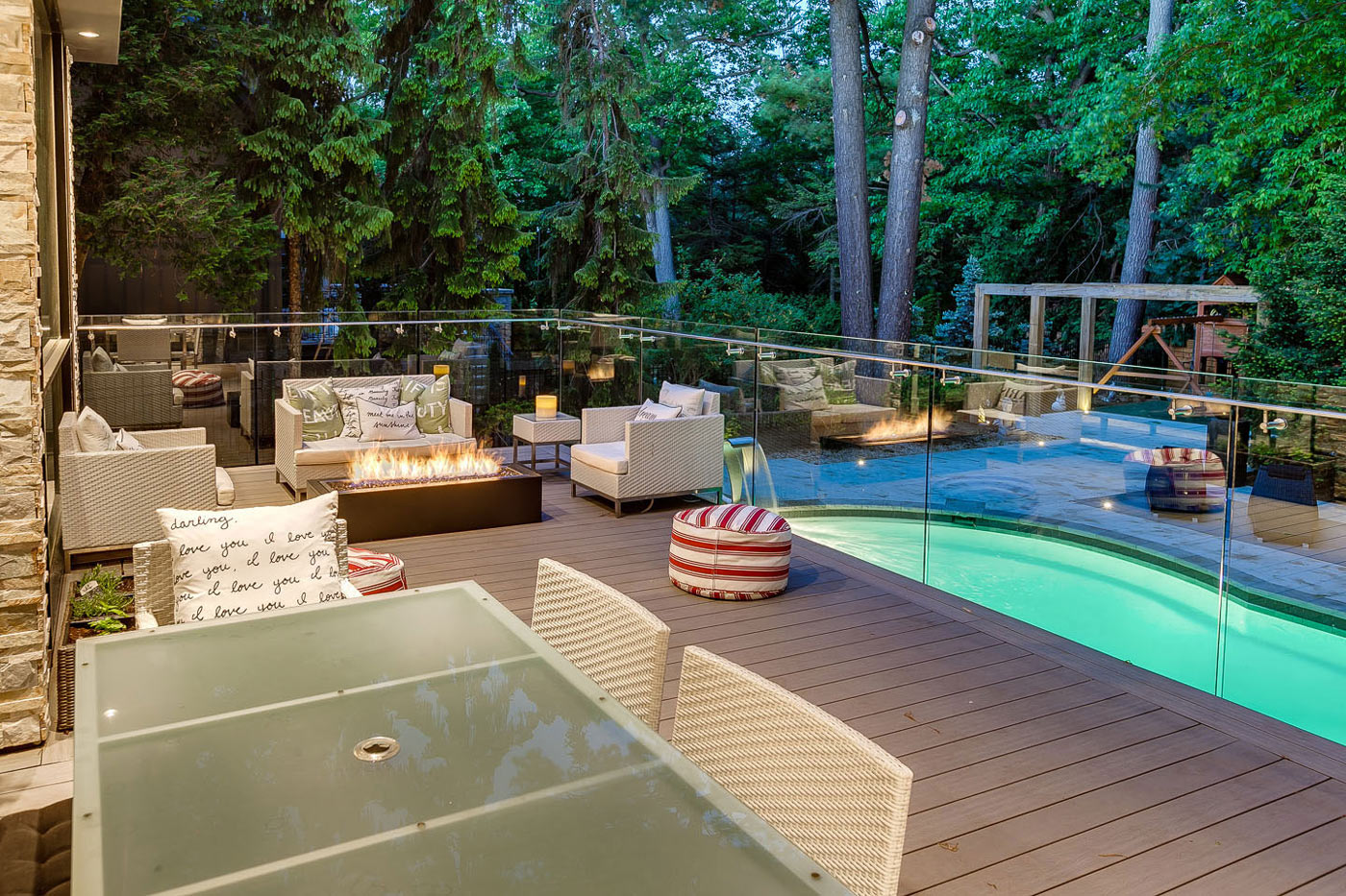 Outdoor Furniture, Terrace, Glass Balustrading, Pool, Contemporary House in Toronto, Canada