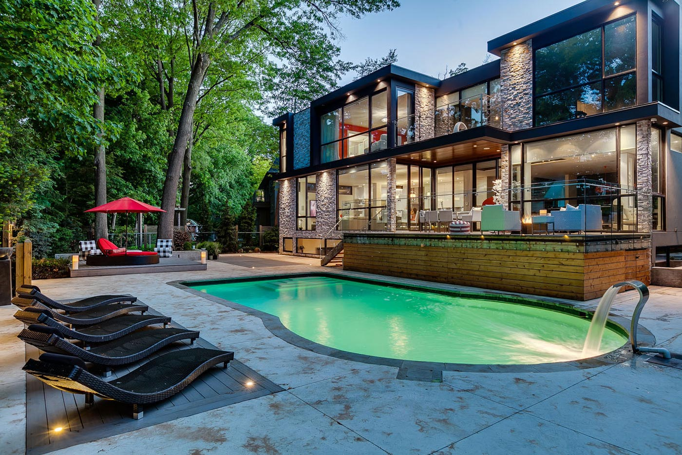 Outdoor Pool, Waterfall, Terrace, Contemporary House in Toronto, Canada