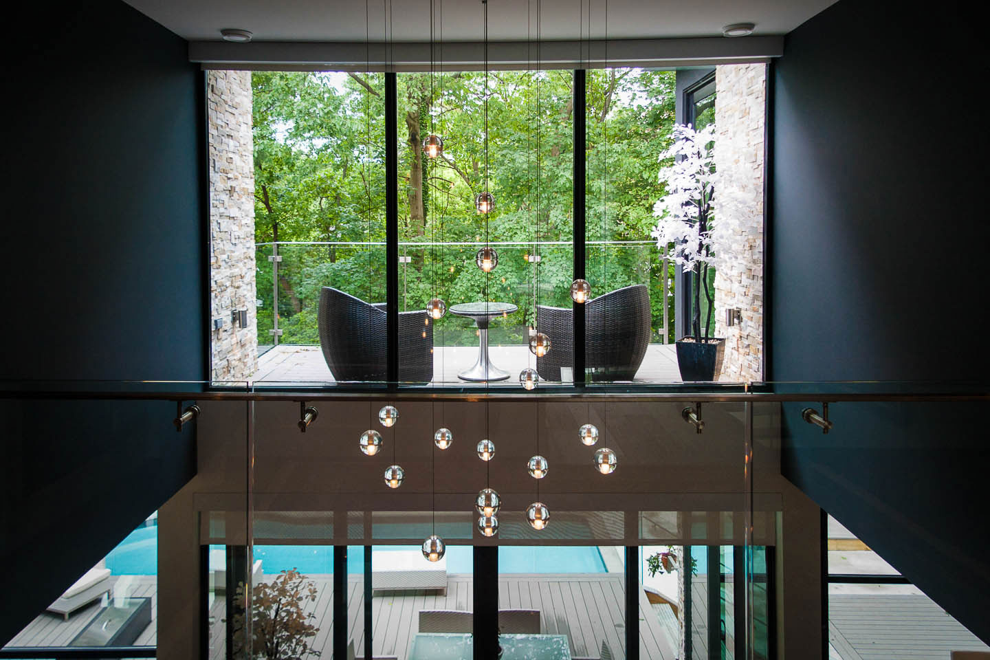 Pendant Lighting, Balcony, Contemporary House in Toronto, Canada