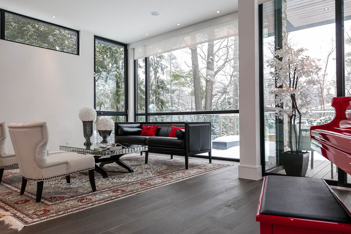 Piano, Living Room, Floor-to-Ceiling Windows, Sofa, Coffee Table, Contemporary House in Toronto, Canada