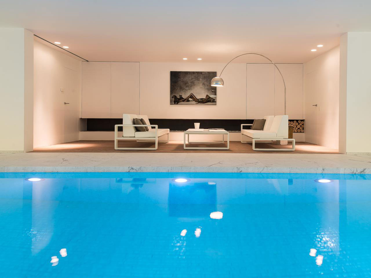 Pool, Art, Lighting, Seating, House Renovation in Sint-Genesius-Rode, Belgium