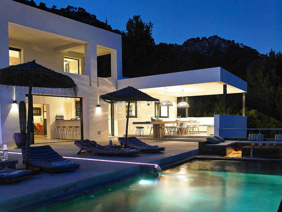 Pool Lighting, Terrace, Modern House in Ibiza, Spain