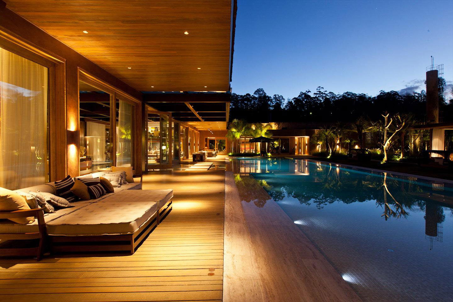 Pool, Lighting, Veranda, Terrace, House in Nova Lima, Brazil