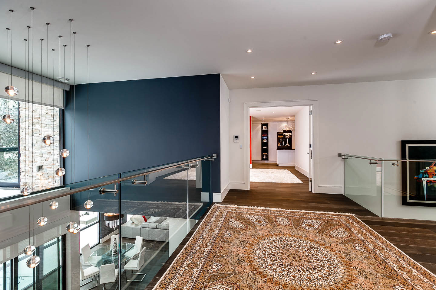 Rug, Landing, Glass Balustrading, Lighting, Contemporary House in Toronto, Canada