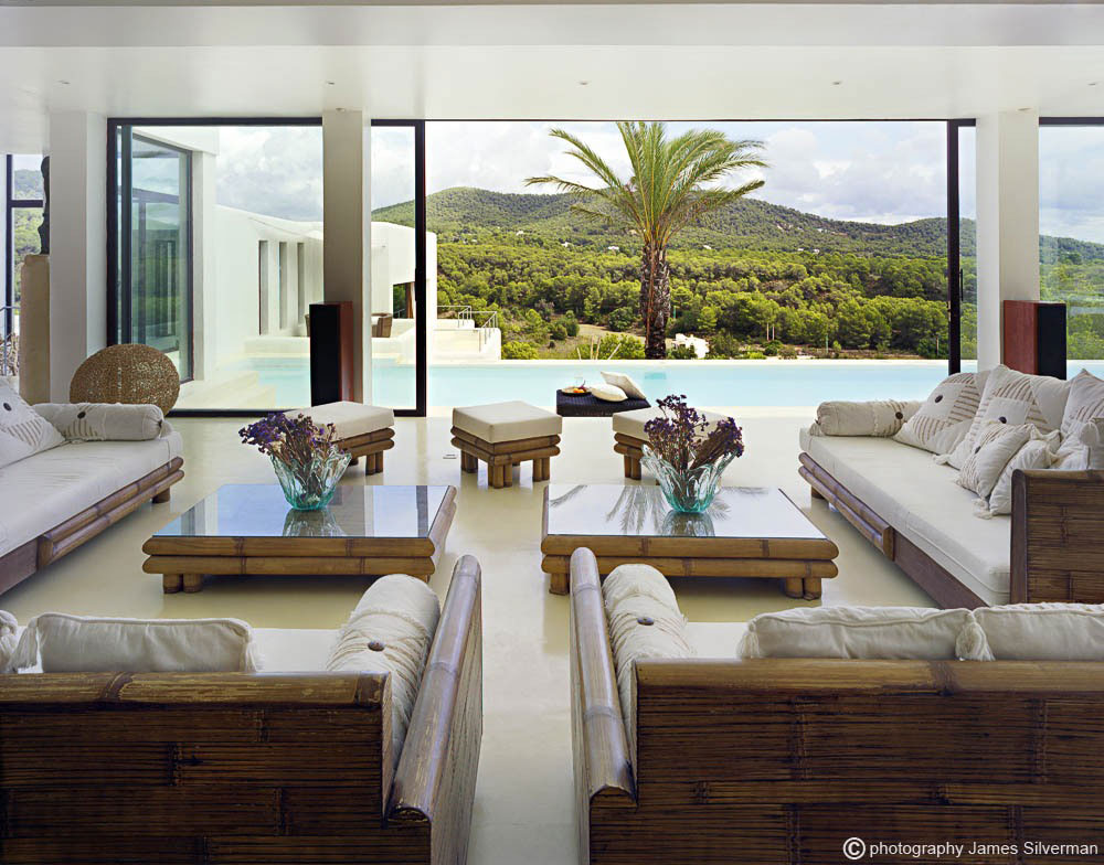 Rustic Sofas, Glass Sliding Doors, Hill Views, Living Room, Villa in Ibiza
