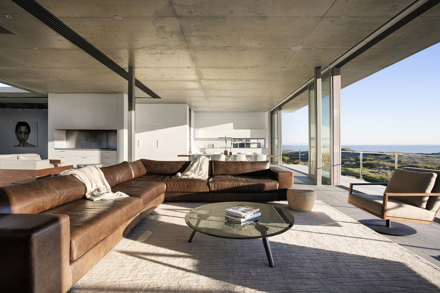 Sofa, Coffee Table, Rug, Glass Sliding Doors, Holiday Home in Yzerfontein, South Africa
