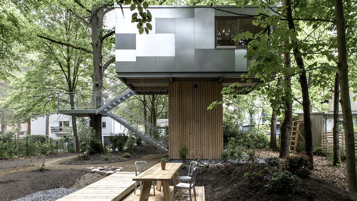Stairs, Terrace, Outdoor Table, Urban Treehouse in Berlin, Germany