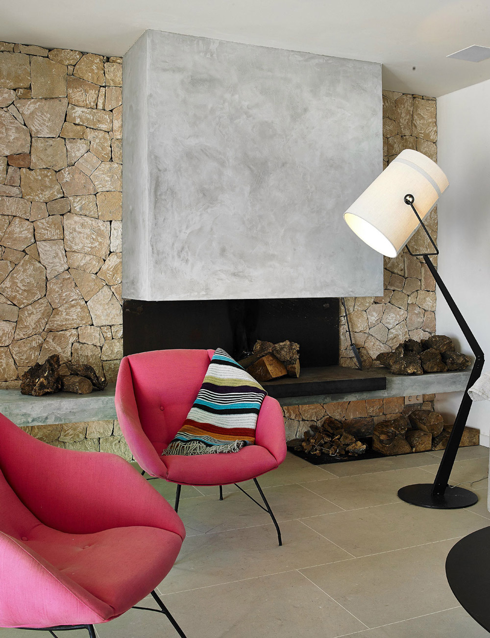 Concrete & Natural Stone Fireplace, Modern House in Ibiza, Spain
